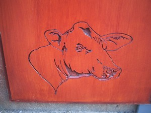 Cow head engraved into MDF